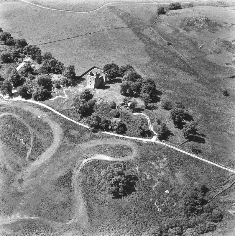 Carnasserie Castle. Oblique aerial view from East.