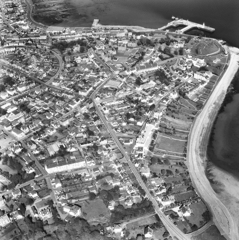 Dunoon, East Bay, Town Centre. Oblique general view.