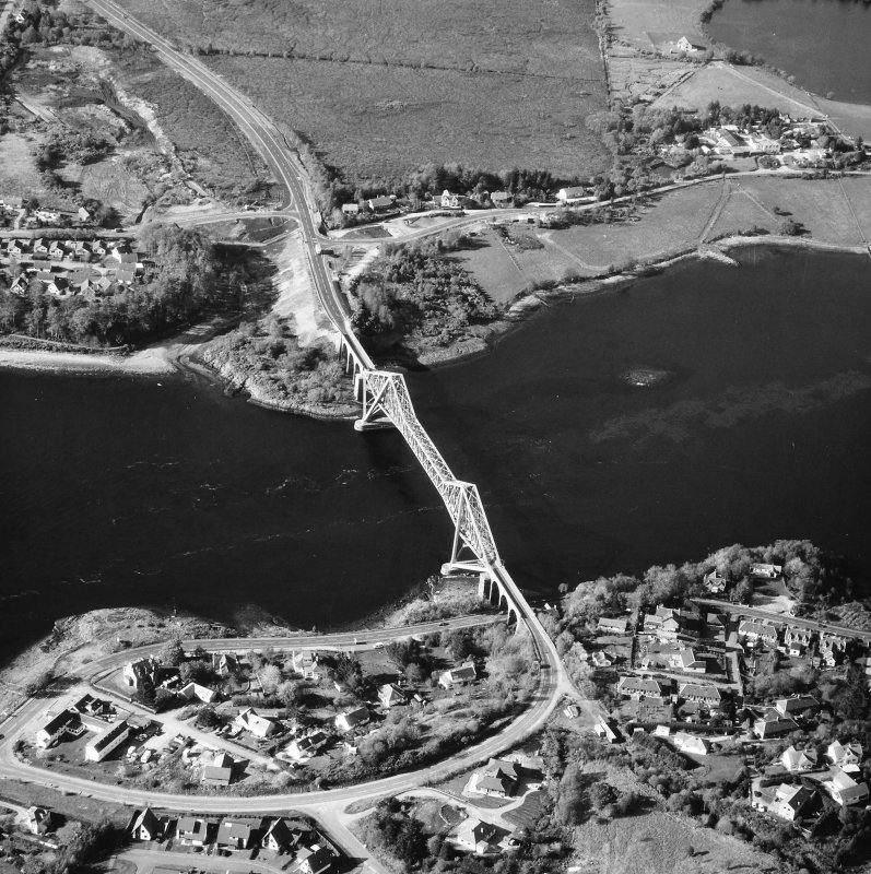 Connel Bridge. Oblique aerial view from South.