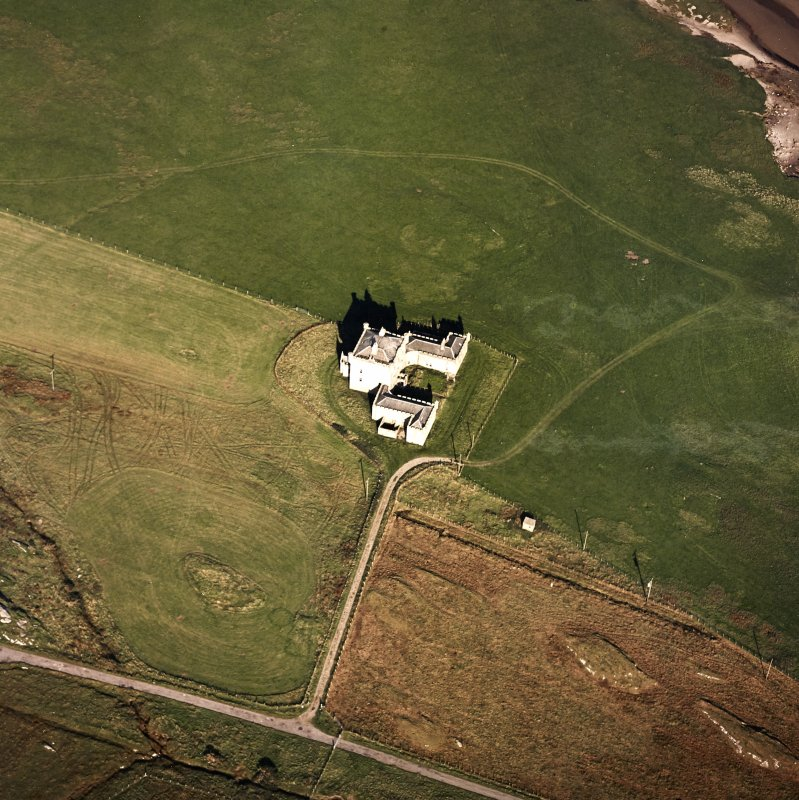 Oblique aerial view of Breachacha House, taken from the SW.