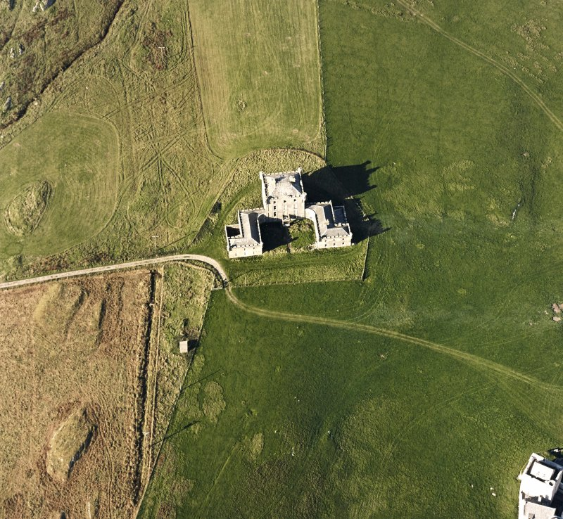 Oblique aerial view of Breachacha House, taken from the SSE.