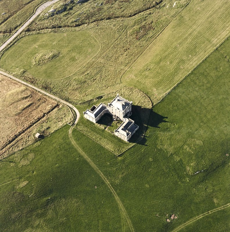 Oblique aerial view of Breachacha House, taken from the SE.