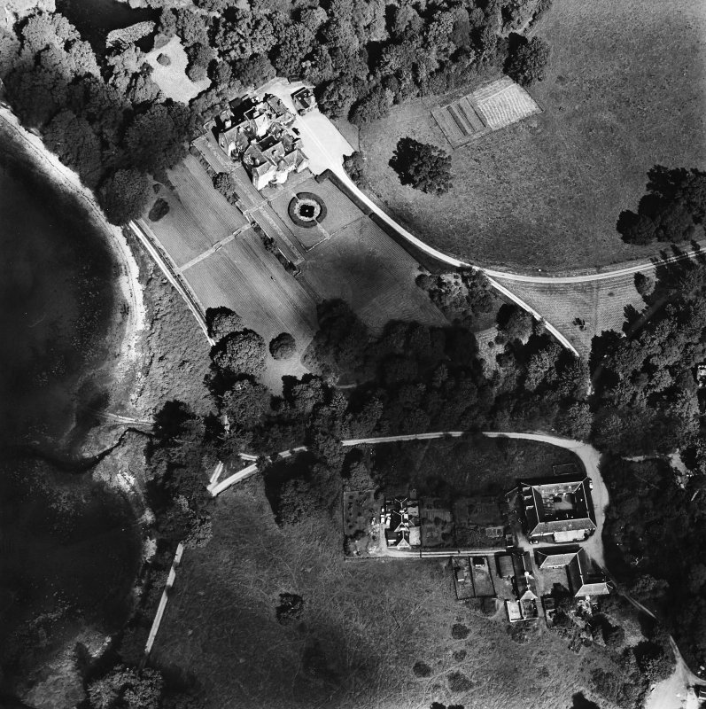 Oblique aerial view centred on Ardkinglas House with the steading adjacent, taken from the SW.