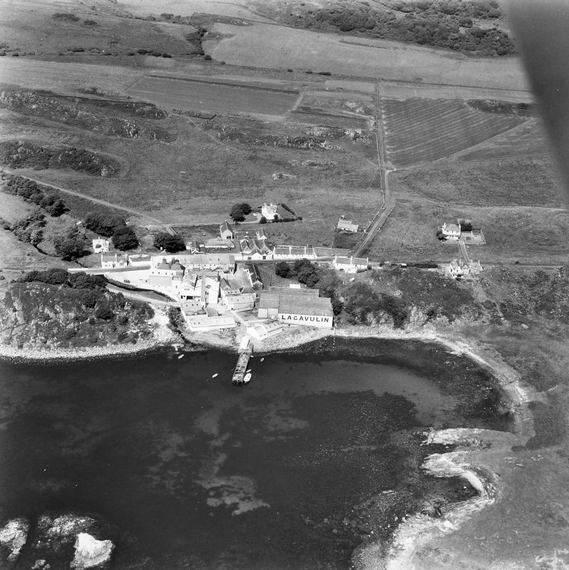 Lagavulin Distillery. Aerial photograph of Distillery and Lagavulin Bay.