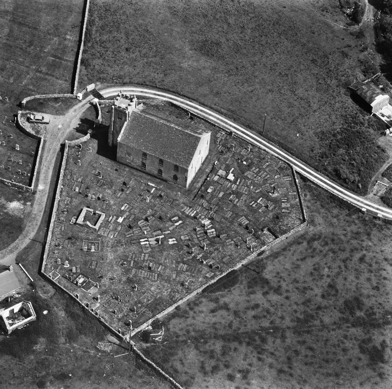 Kilchoman Church. Aerial view of church and graveyard.