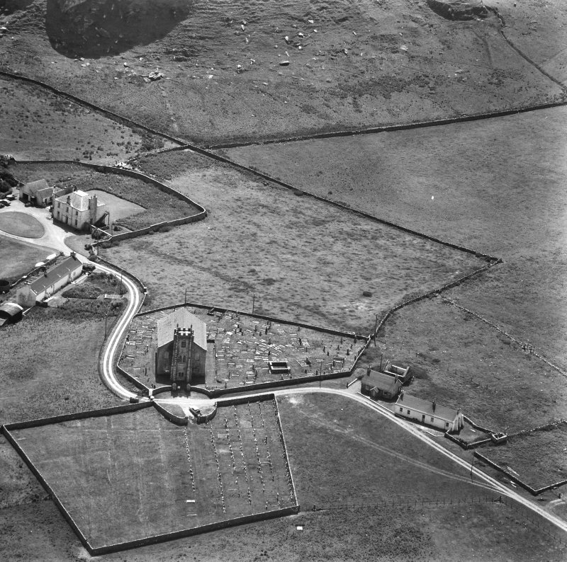 Kilchoman Old Parish Church. Aerial view of Church, graveyard and manse.