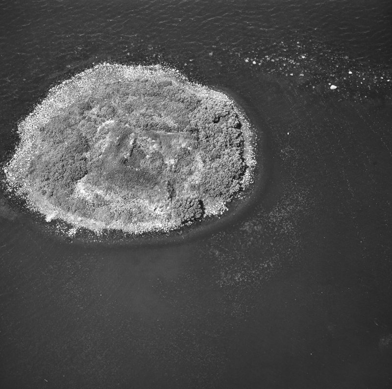 Eilean Mor, Loch Gorm, Islay. Aerial view of island and remains of castle.