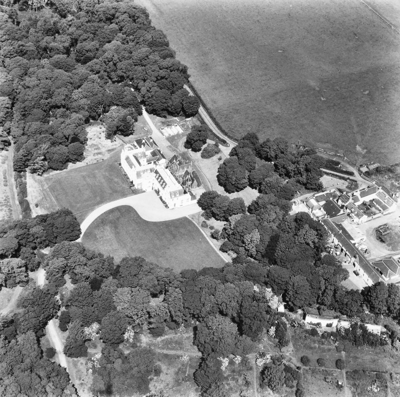 Islay House, Islay. Aerial view of house and grounds, including home farm from South.