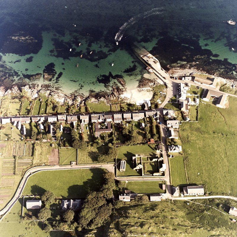 Iona, Manse, Nunnery, Baile Mor & Abbey. Oblique aerial view from West.