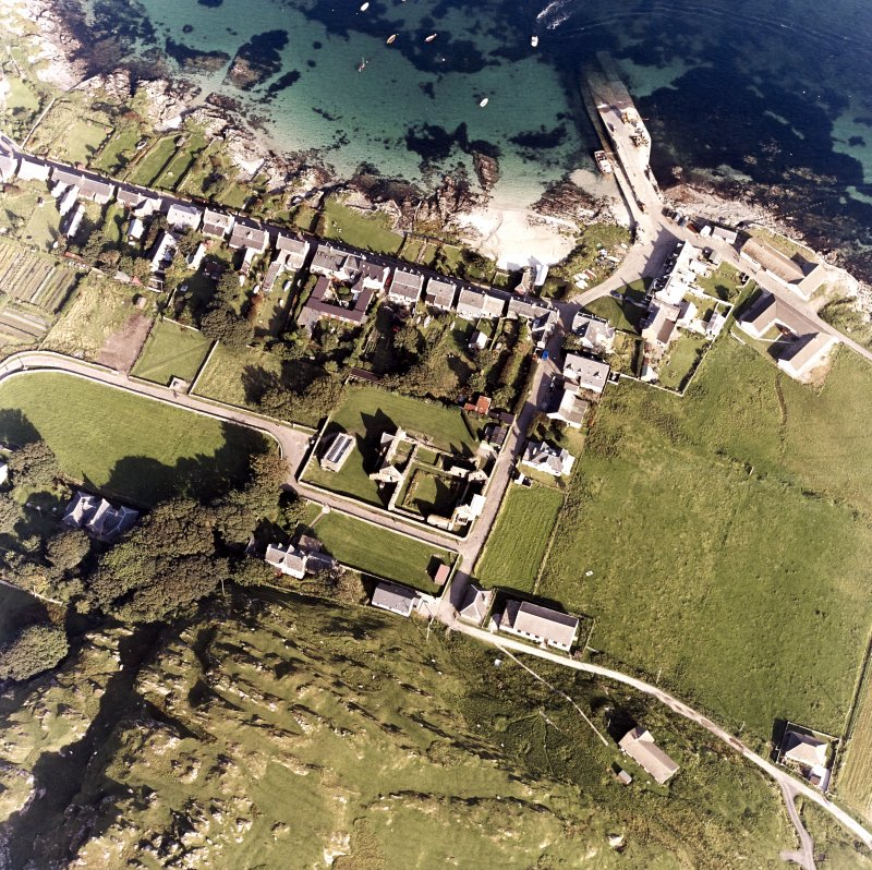 Iona, Manse, Nunnery & Baile Mor. Oblique aerial view from West.