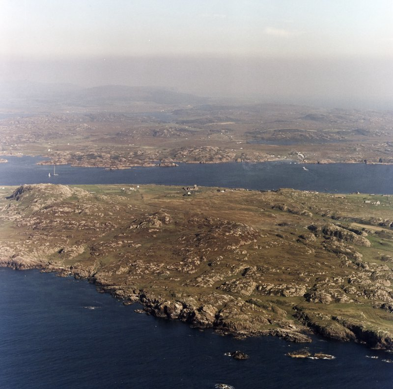 Iona, Iona Abbey & General. Oblique aerial view from South-West.