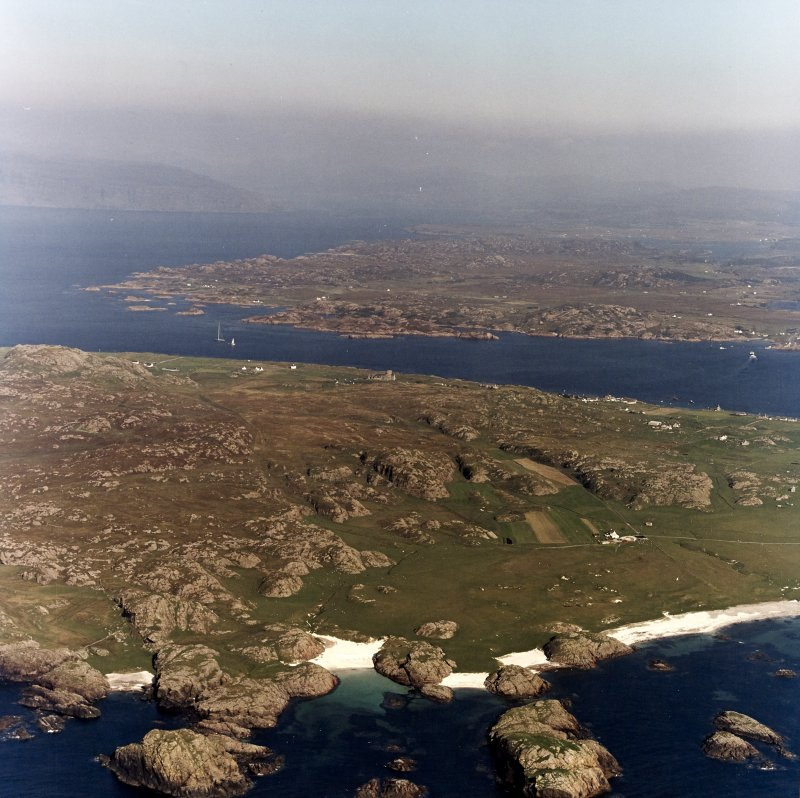 Iona, Iona Abbey & General. Oblique aerial view from West.