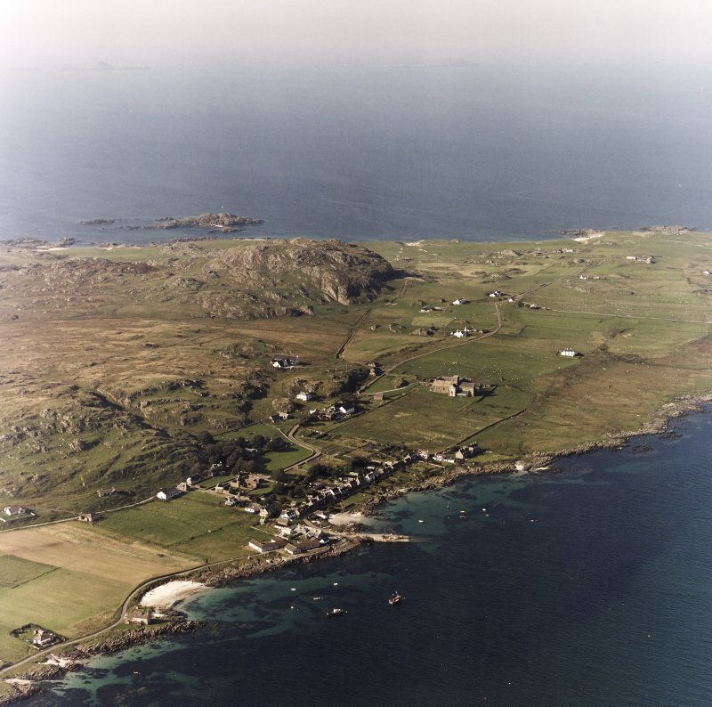 Iona, Iona Abbey, Nunnery & Baile Mor Village. Oblique aerial view from South-East.