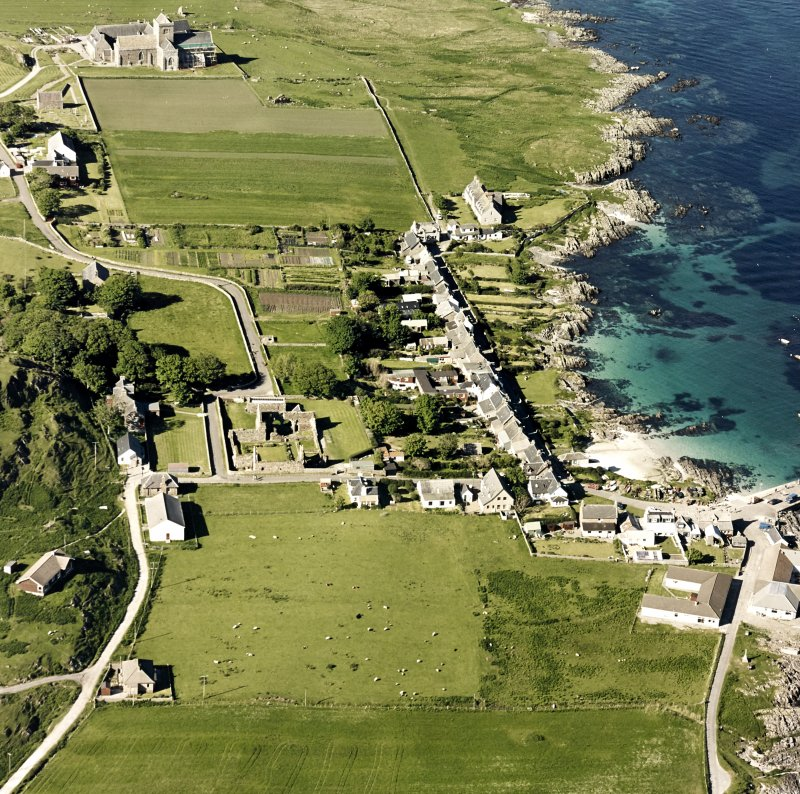 Oblique aerial view of Iona Nunnery, taken from the south west, centred on the nunnery.