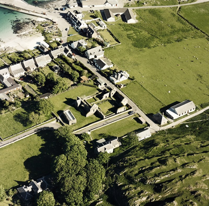 Oblique aerial view of Iona Nunnery, taken from the north west, centred on the nunnery.
