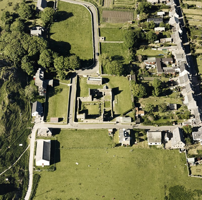 Oblique aerial view of Iona Nunnery, taken from the south, centred on the nunnery.