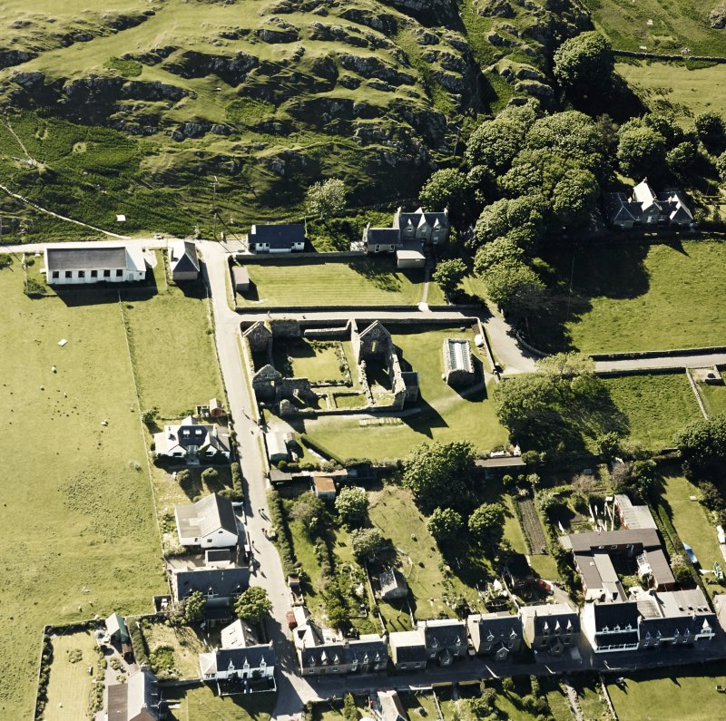 Oblique aerial view of Iona Nunnery, taken from the east, centred on the nunnery.