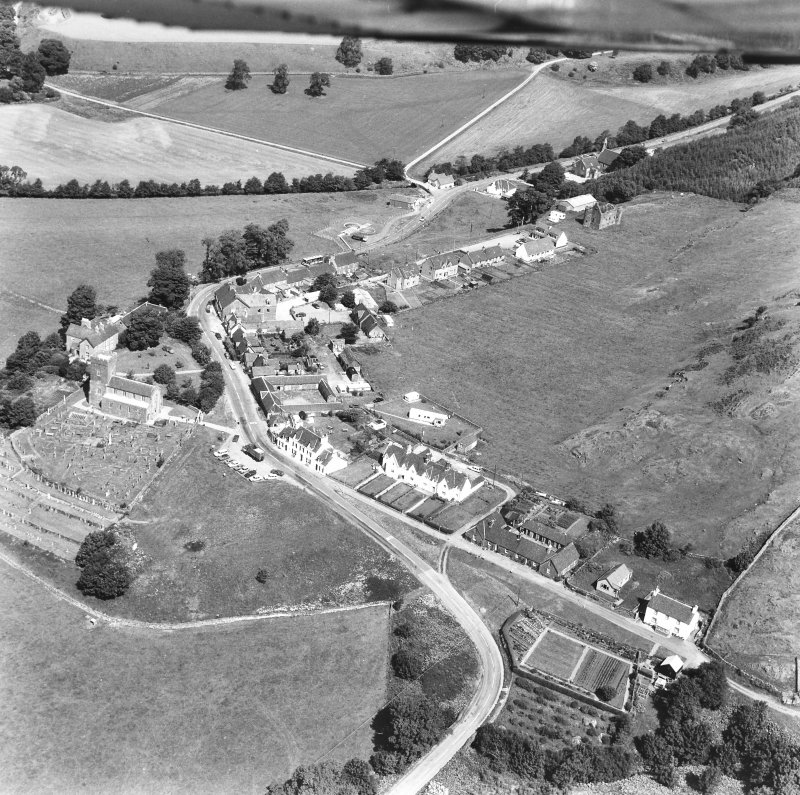 Kilmartin & Kilmartin Castle. Oblique aerial view from South-East.