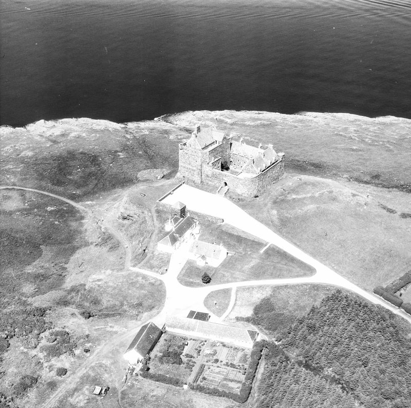 Mull, Duart Castle. Oblique aerial view from South.
