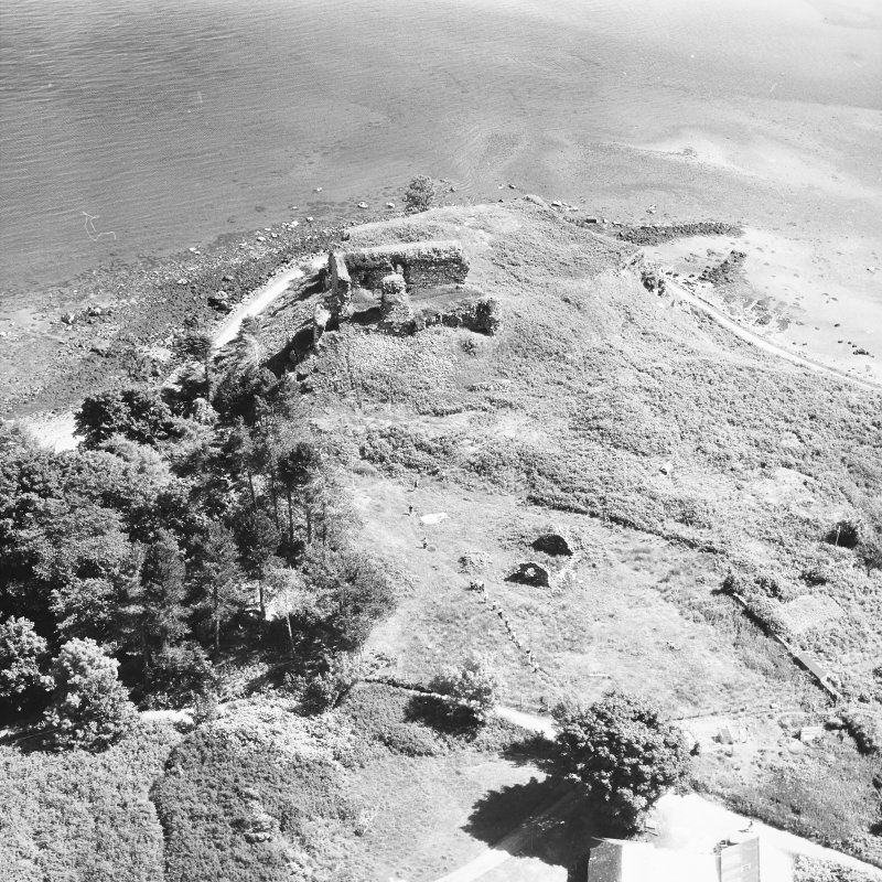 Mull, Aros Castle. Oblique aerial view from North-West.