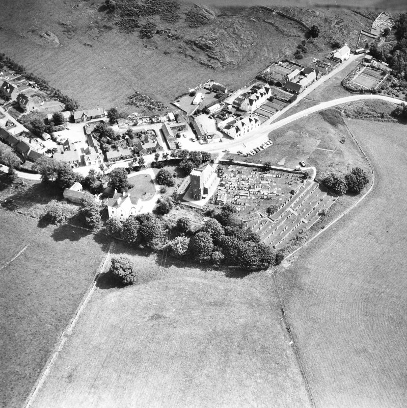 Kilmartin, Kilmartin Church, Churchyard and Village. Oblique aerial view from South-West.
