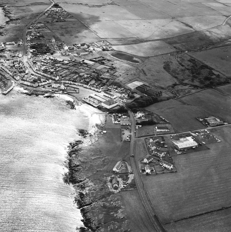 Oblique aerial photograph of Port Charlotte, Islay, taken from the NE.