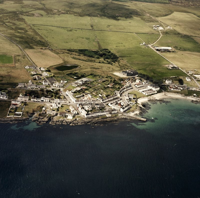 Oblique aerial photograph of Port Charlotte, Islay, taken from the ESE.