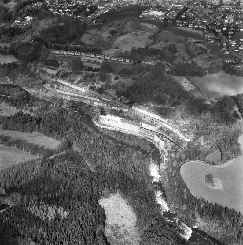 Aerial view of New Lanark from South South West