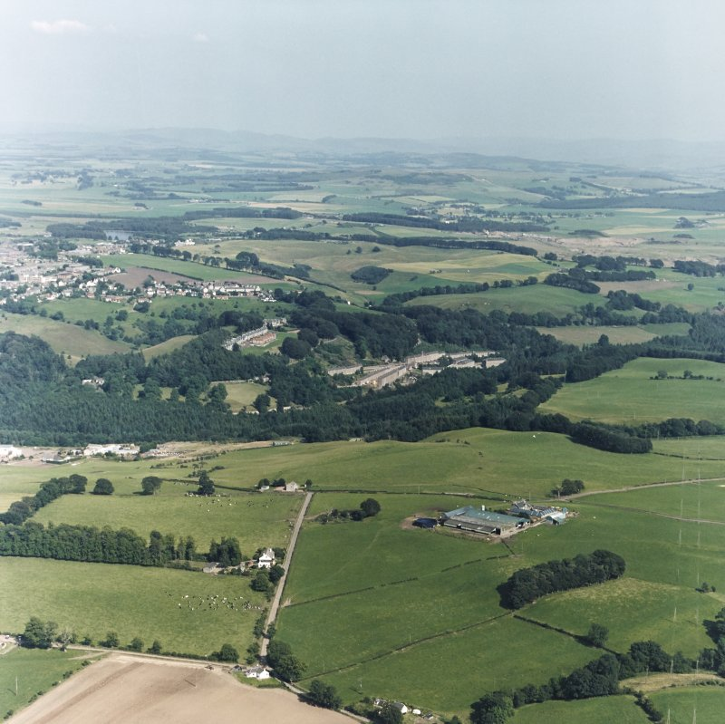New Lanark village and mills, oblique aerial view.