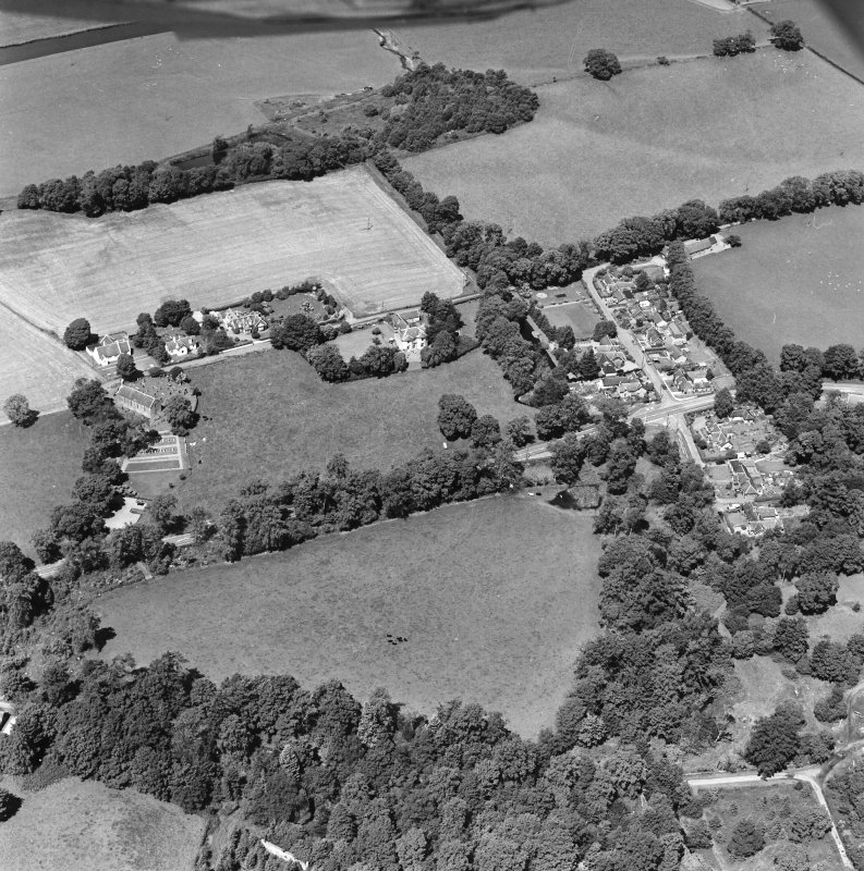 Oblique aerial view centred on Lamington village, taken from the SE.