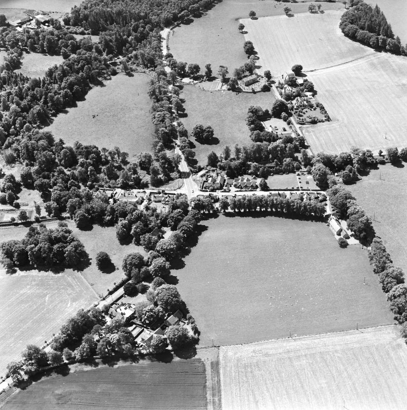 Oblique aerial view centred on Lamington village, taken from the NE.