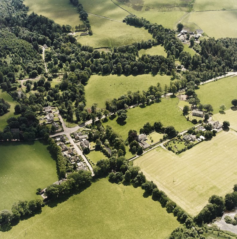 Oblique aerial view centred on Lamington village, taken from the NW.
