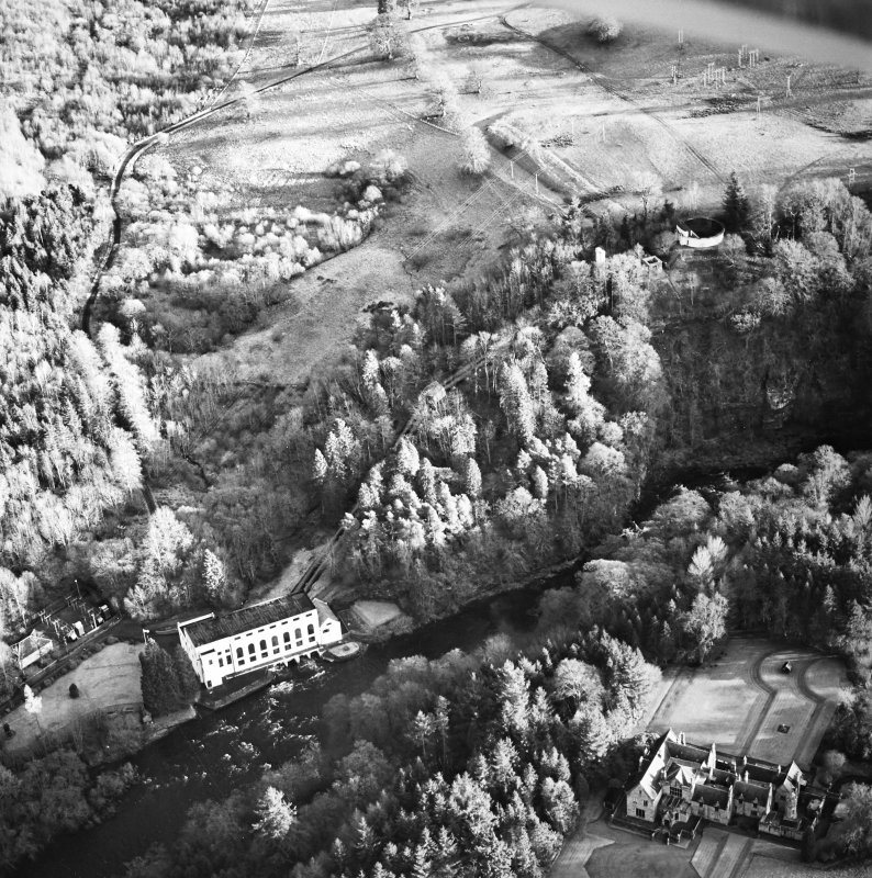 Oblique aerial view centred on Corehouse, the power station and pavilion, taken from the WNW.