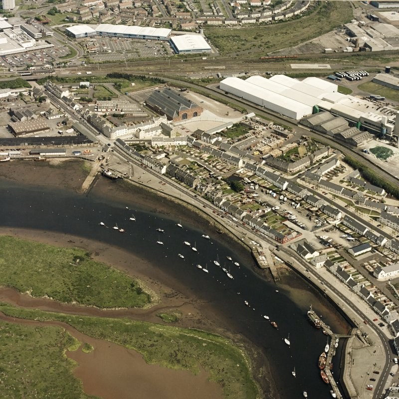 Aerial view of Irvine Harbour, the Scottish Maritime Museum and Portland Road glass works, taken from the WNW.