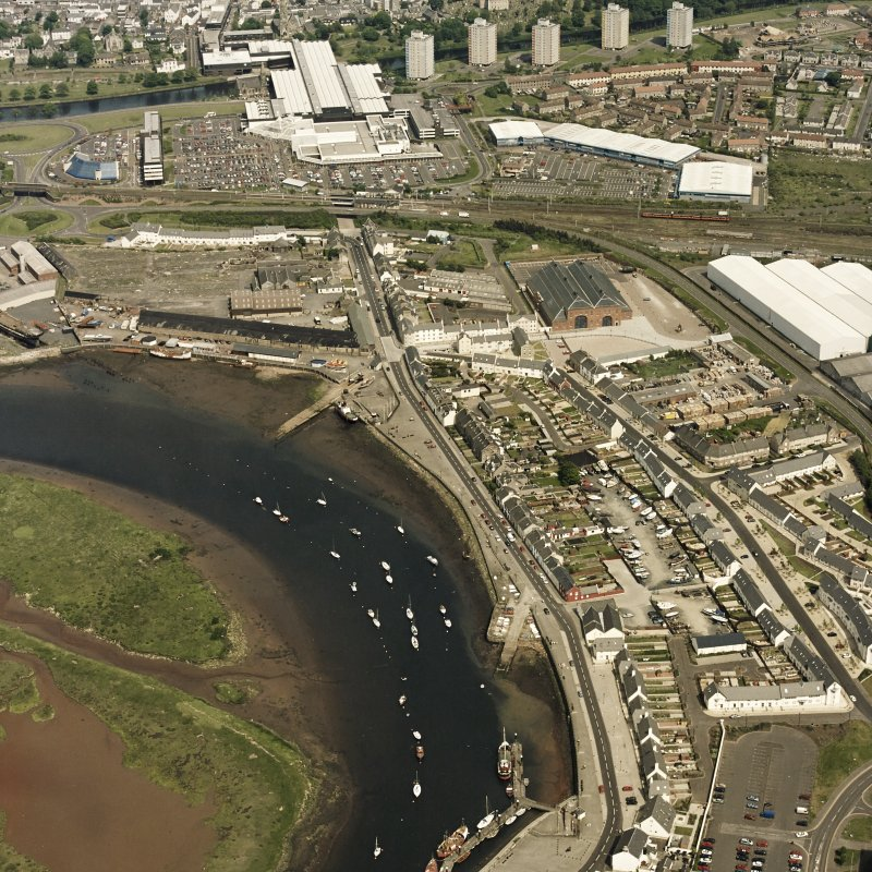 Aerial view of Irvine Harbour, the Scottish Maritime Museum, the sawmill and Portland Road glass works from SW.