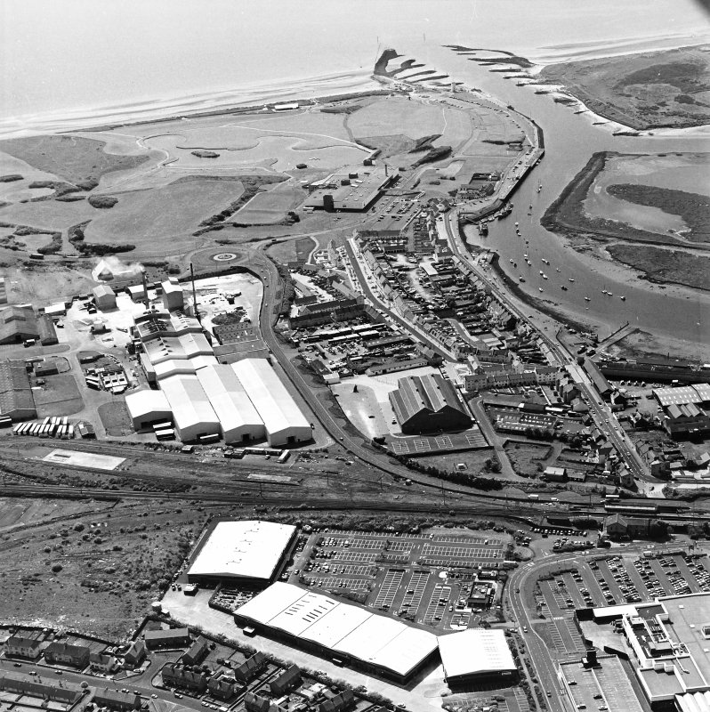 Aerial view of Irvine Harbour, the Scottish Maritime Museum, the sawmill and Portland Road glass works, taken from the NE.