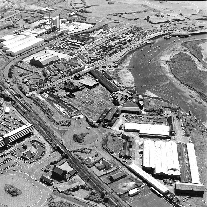 Aerial view of Irvine Harbour, the Scottish Maritime Museum (including the SV Carrick), the sawmill, Ayrshire Metal Products and Portland Road glass works, taken from the NNE.