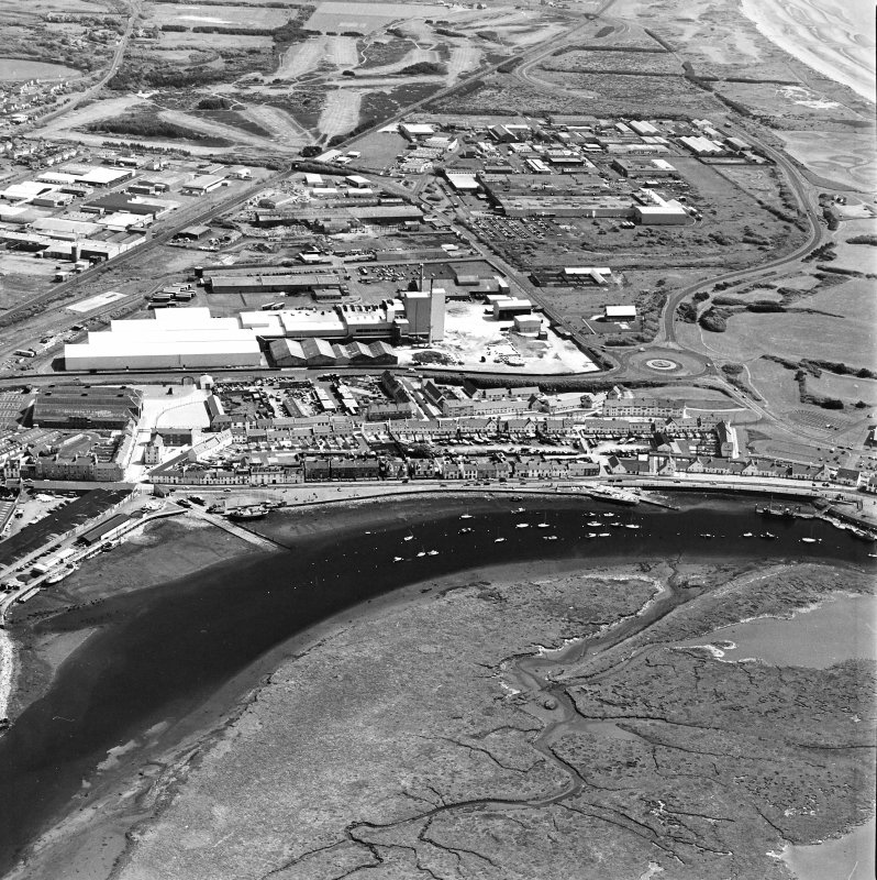 Aerial view of Irvine Harbour, the Scottish Maritime Museum and Portland Road glass works, taken from the NW.