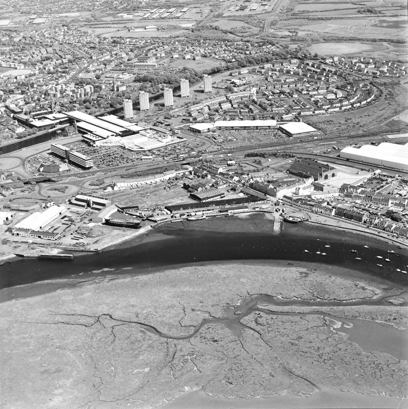 Aerial view of Irvine Harbour, the Scottish Maritime Museum (including SV Carrick), the sawmill and Ayrshire Metal Products, taken from the NW.