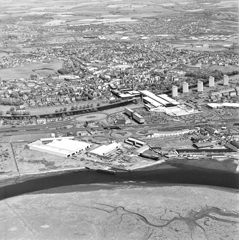 Aerial view of Irvine Harbour, the Scottish Maritime Museum (including SV Carrick), the sawmill and Ayrshire Metal Products, taken from the W.