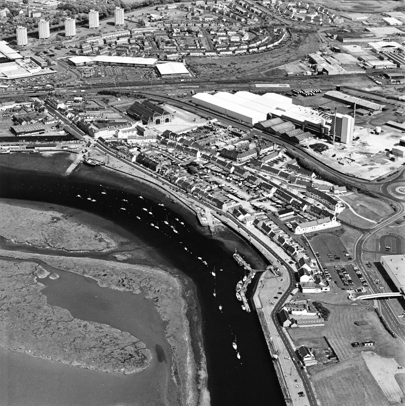 Aerial view of Irvine Harbour, the Scottish Maritime Museum, the sawmill and Portland Road glass works, taken from the WSW.