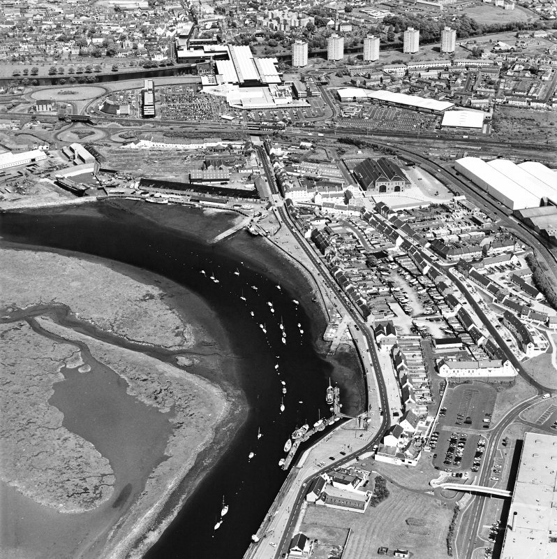 Aerial view of Irvine Harbour, the Scottish Maritime Museum (including SV Carrick), the sawmill and Ayrshire Metal Products, taken from the SW.