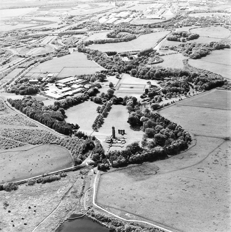 Aerial view of Eglinton Castle, Eglinton Park, and the farmstead and works, taken from the E.