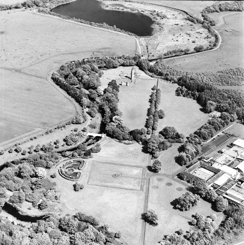 Aerial view of Eglinton Park and bridge, the farmstead and works, and the remains of Eglinton Castle, taken from the W.