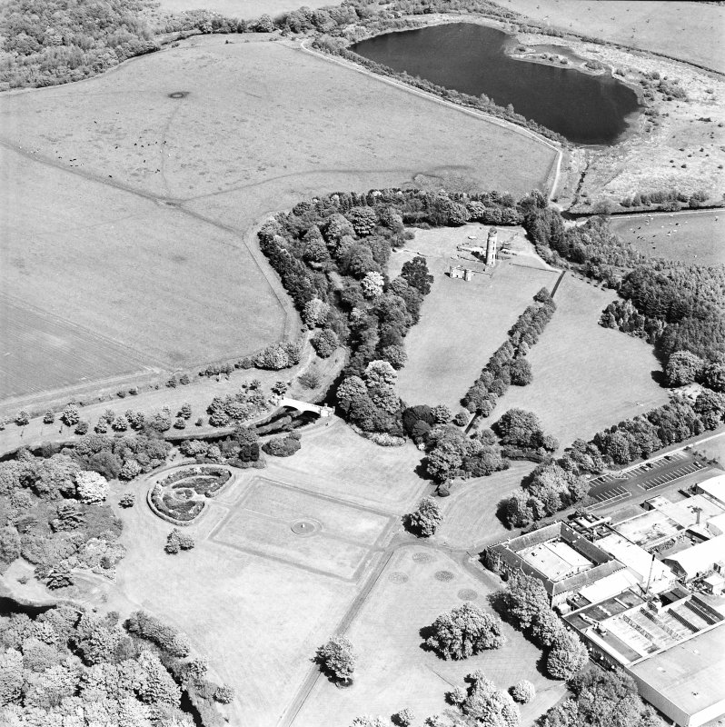 Aerial view of Eglinton Park and bridge, the farmstead and works, and the remains of Eglinton Castle, taken from the WSW.