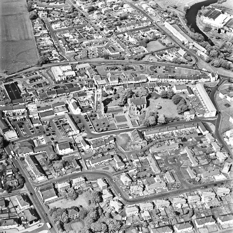 Aerial view of Kilwinning, centred on Kilwinning Abbey, taken from the S.