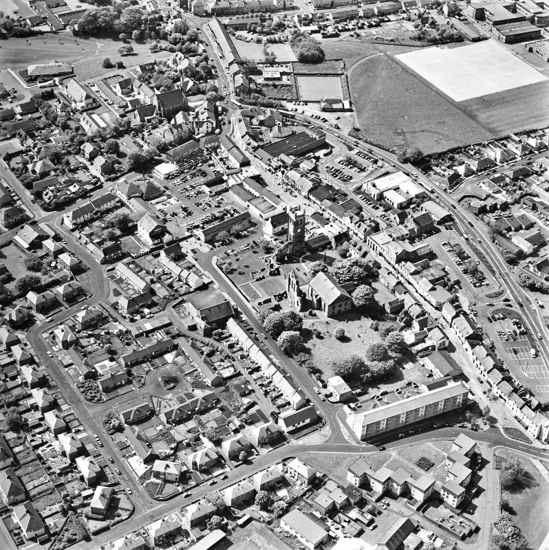 Aerial view of Kilwinning, centred on Kilwinning Abbey, taken from the SE.