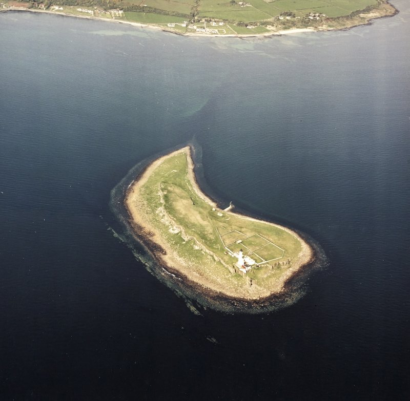General oblique aerial view of Pladda centred on the lighthouse, taken from the SSW.