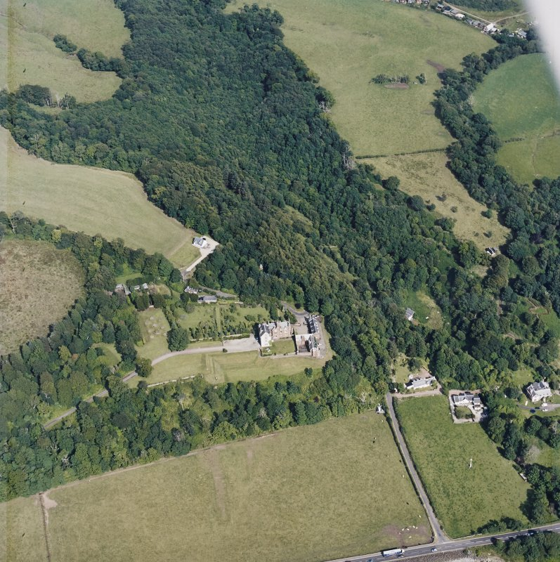 Oblique aerial view centred on the castle, taken from the WSW.