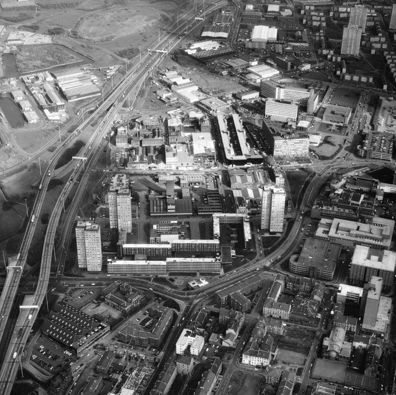 Glasgow, Cowcaddens. Oblique aerial view.
